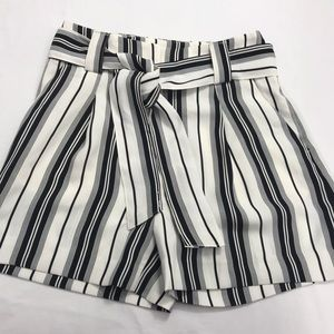 H&M Ladies Black and White High Waisted Shorts